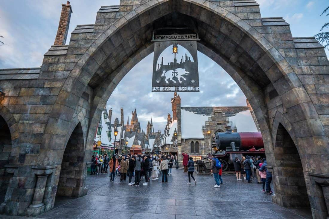 Hogsmeade entrance gate at The Wizarding World of Harry Potter at Universal Studios Japan in Osaka