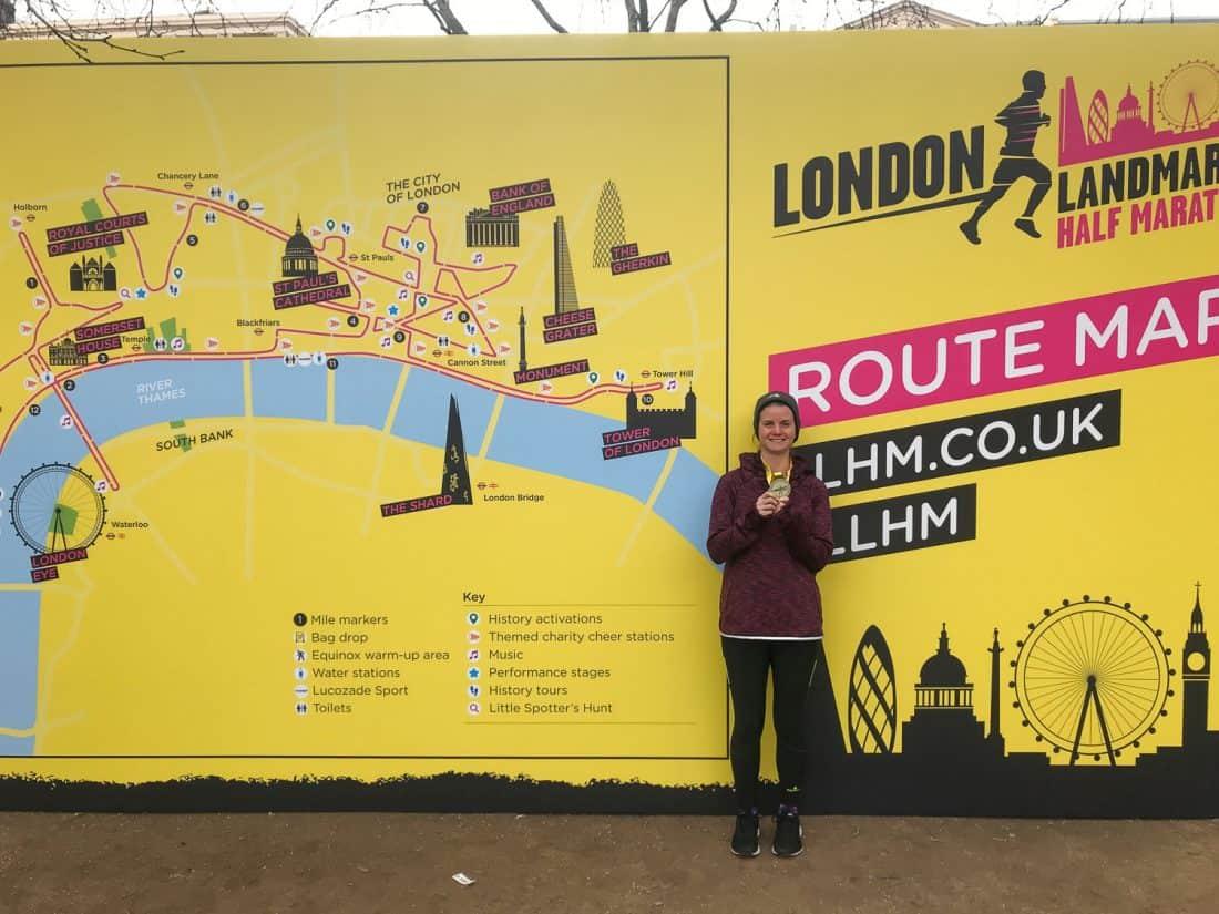 Erin with medal after London Landmarks Half Marathon