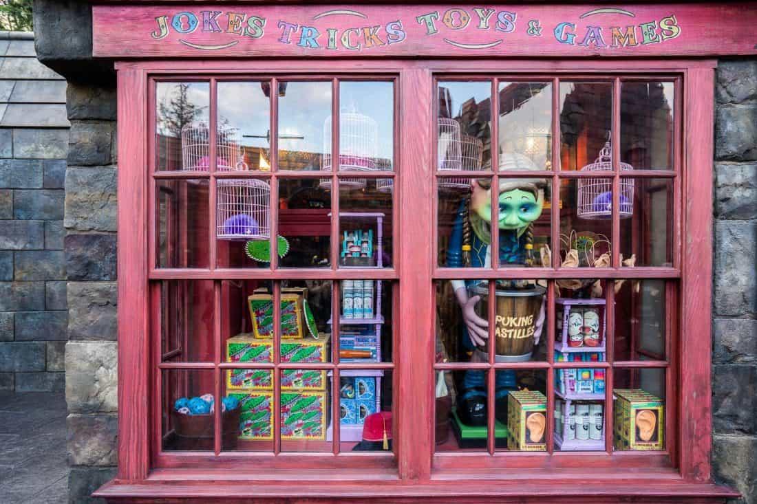 Puking Pastilles display at Zonko's joke shop at The Wizarding World of Harry Potter at Universal Studios Japan in Osaka