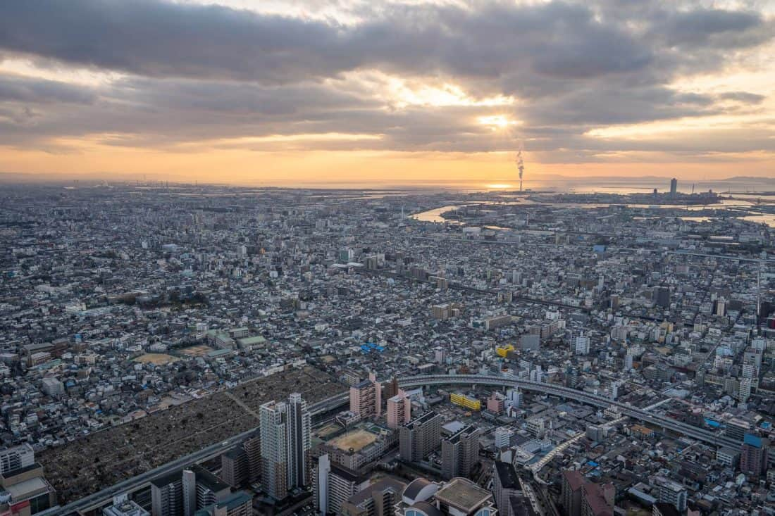 The view of Osaka at sunset from the Edge at Harukas 300