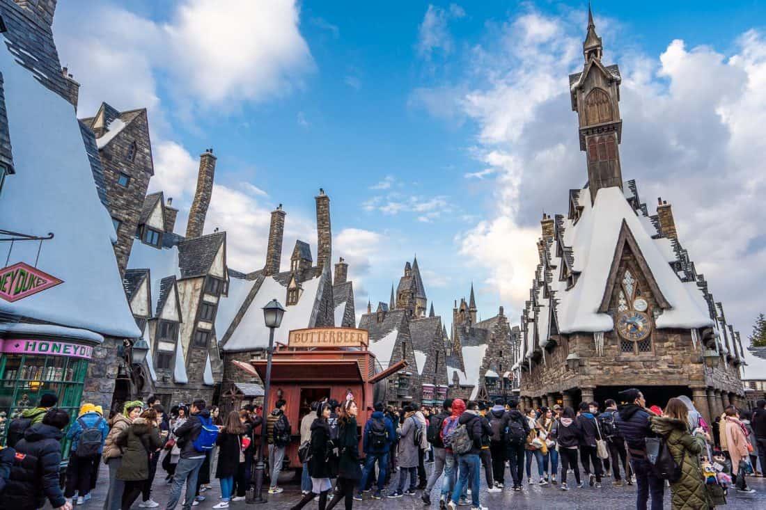 Hogsmeade village at The Wizarding World of Harry Potter at Universal Studios Japan in Osaka