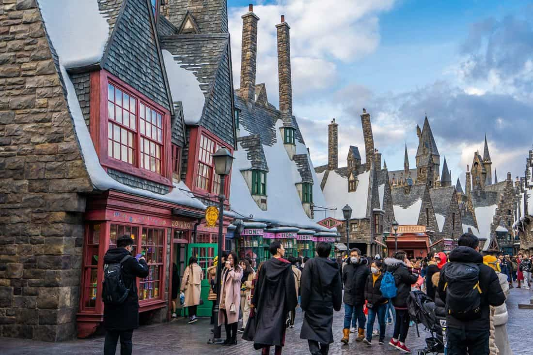Hogsmeade village shops in The Wizarding World of Harry Potter at Universal Studios Japan in Osaka