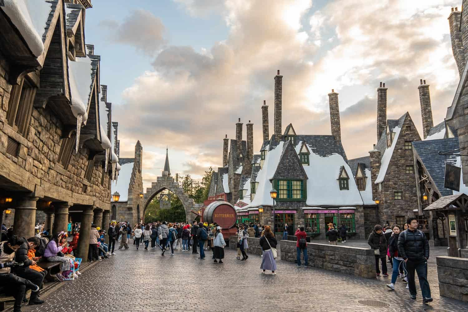 Hogsmeade village at sunset at The Wizarding World of Harry Potter at Universal Studios Japan in Osaka