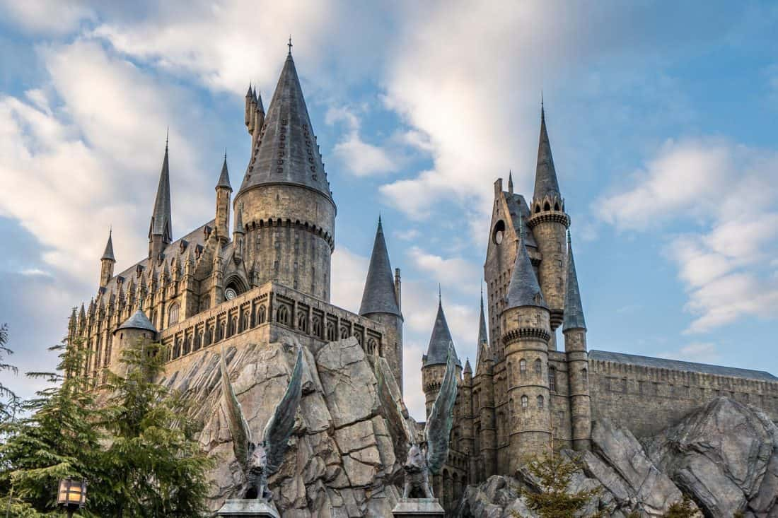 Hogwarts Castle where the Harry Potter and the Forbidden Journey ride is at The Wizarding World of Harry Potter at Universal Studios Japan in Osaka