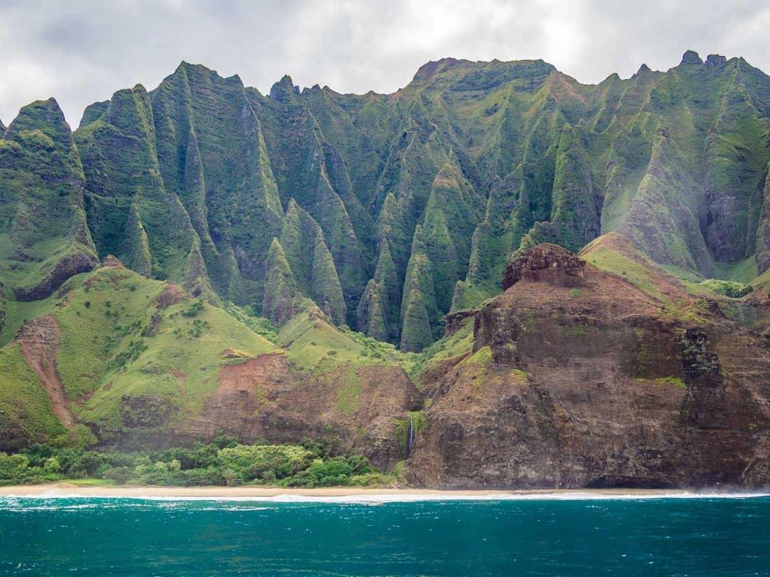 The Napali Coast in Kauai by boat