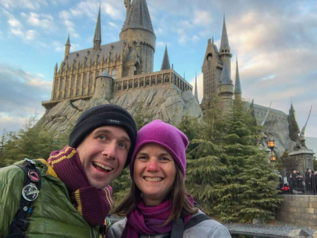 Simon and Erin in front of Hogwarts Castle at Harry Potter World in Universal Japan