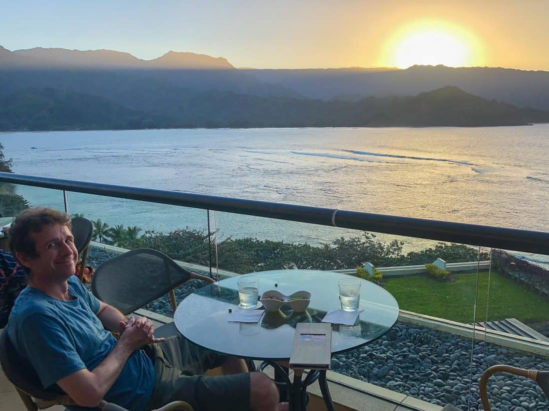 Sunset drink at the Princeville Resort bar on the Kauai north shore