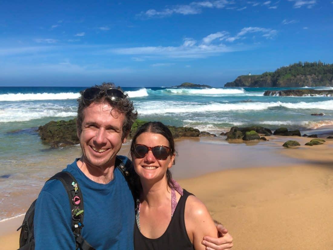 Simon and Erin at at Secret Beach, Kauai