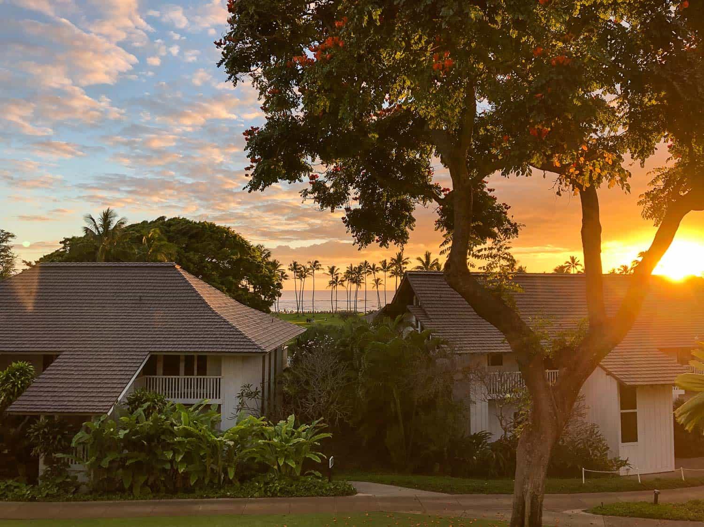 View from condo at Kiahuna Plantation in Poipu, Kauai at sunset