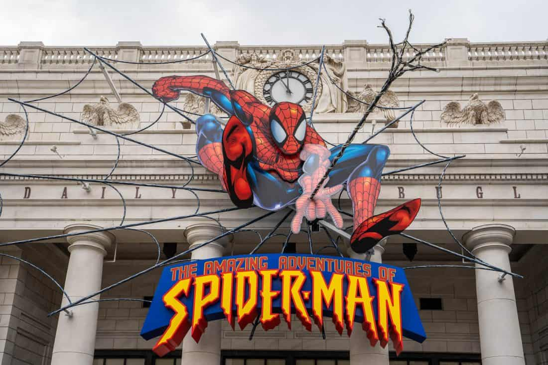 The sign above the entrance to The Amazing Adventures of Spiderman ride at Universal Studios Japan in Osaka