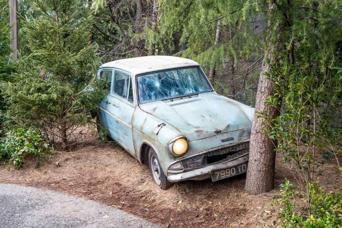 The Flying Ford Anglia that Ron Weasley crashed on the way to The Wizarding World of Harry Potter at Universal Studios Japan in Osaka