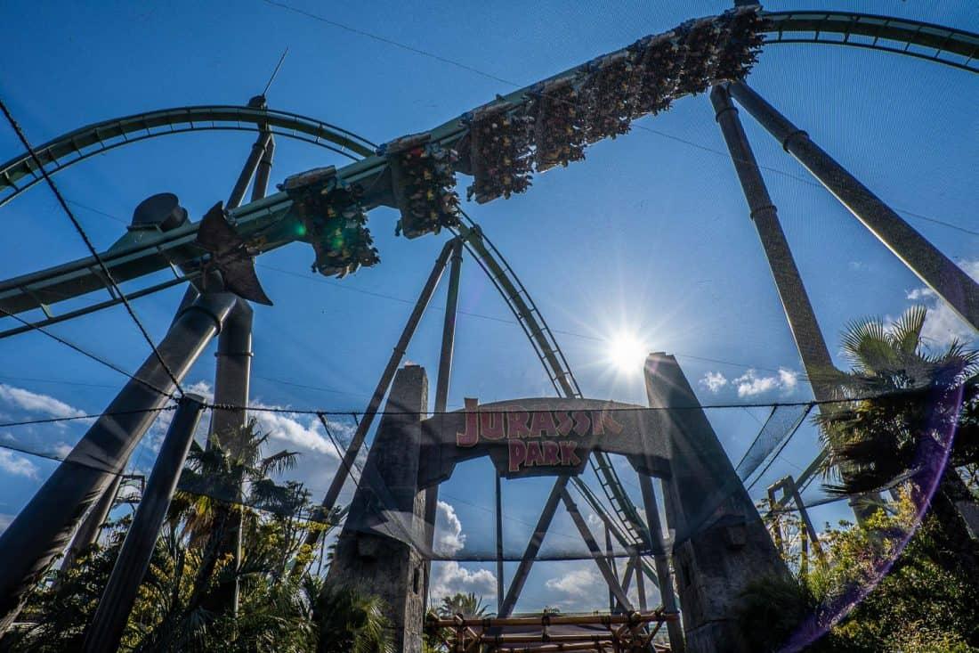 The Flying Dinosaur intense rollercoaster in the Jurassic Park area of Universal Studios Japan