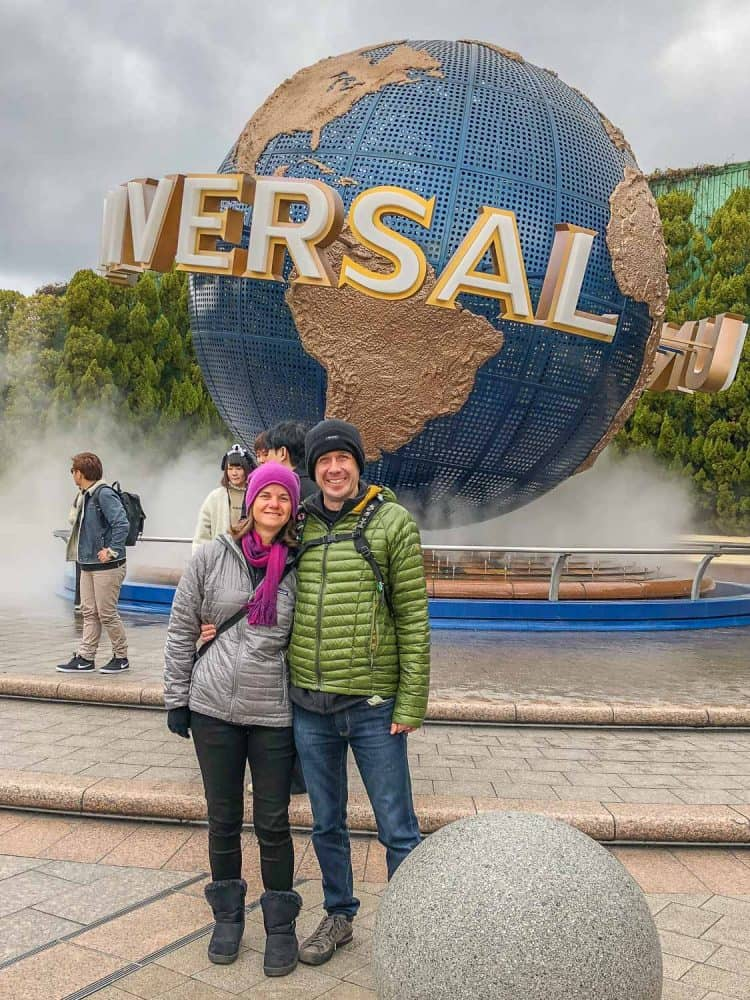 Erin and Simon at the Universal Studios Japan globe outside the park gate