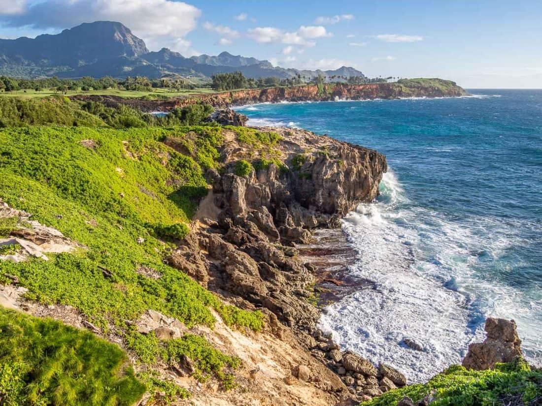 View on the Maha'ulepu Heritage Trail in Poipu, Kauai