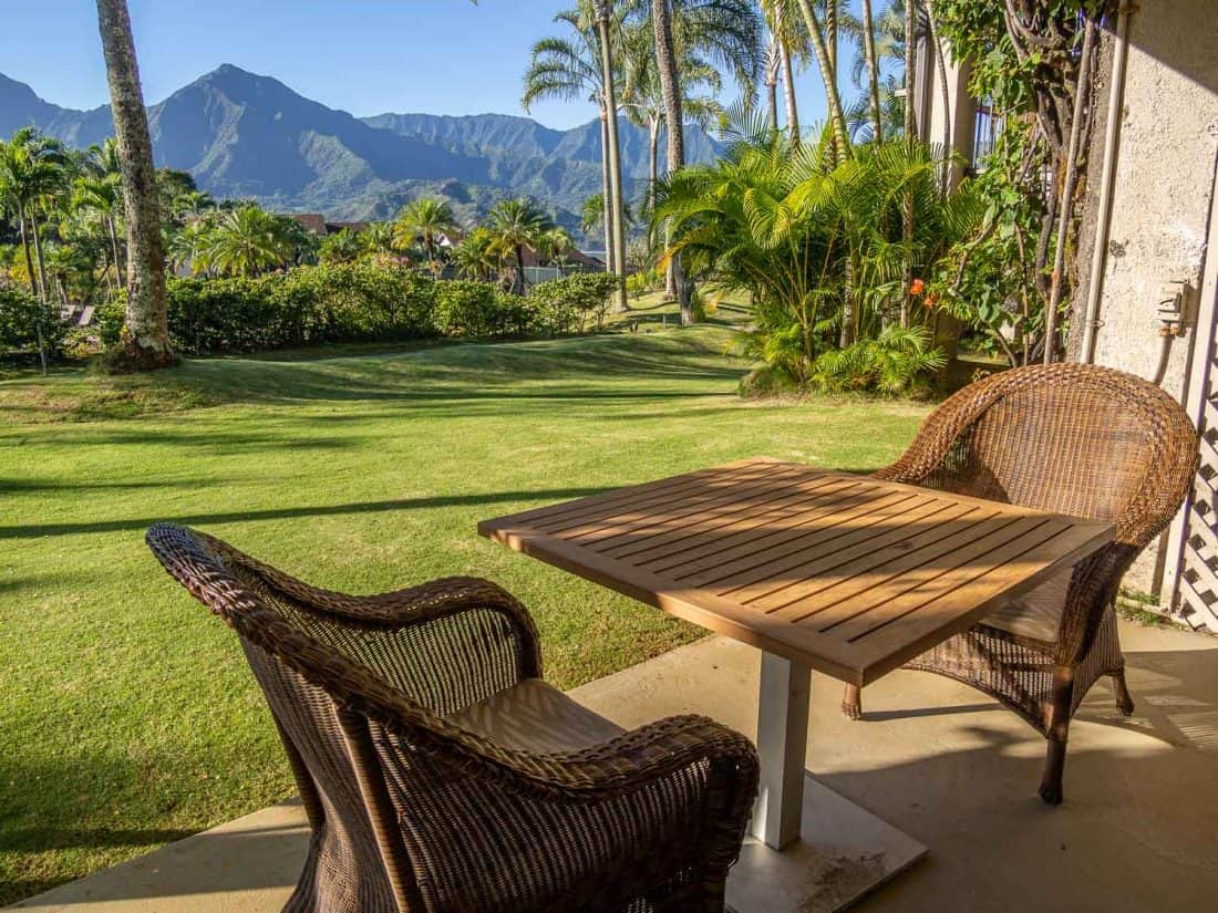 The view from our balcony at Hanalei Bay Resort in Princeville, Kauai