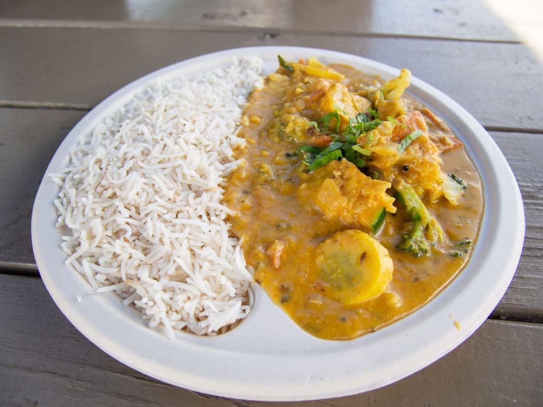 Vegetarian curry at Cafe Tumeric food truck in Hanalei, Kauai