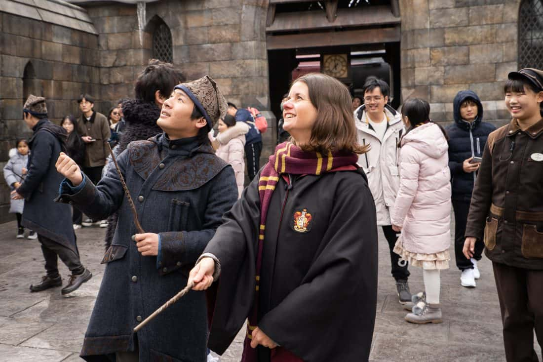 Erin doing wand magic at The Wizarding World of Harry Potter at Universal Studios Japan in Osaka