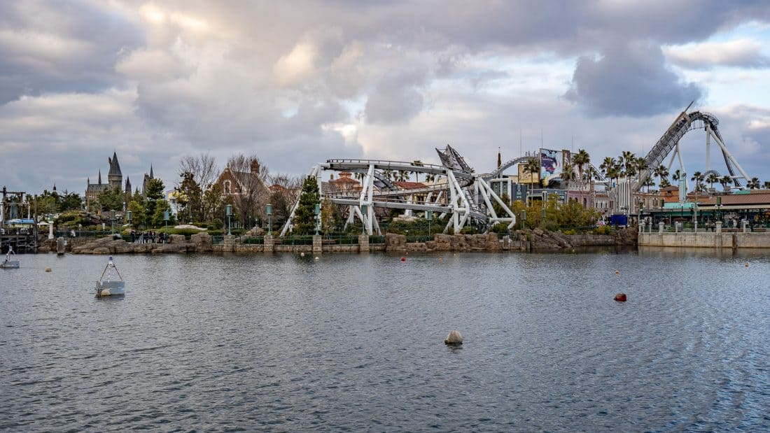 View of Hollywood Dream ride from the lake at Universal Japan