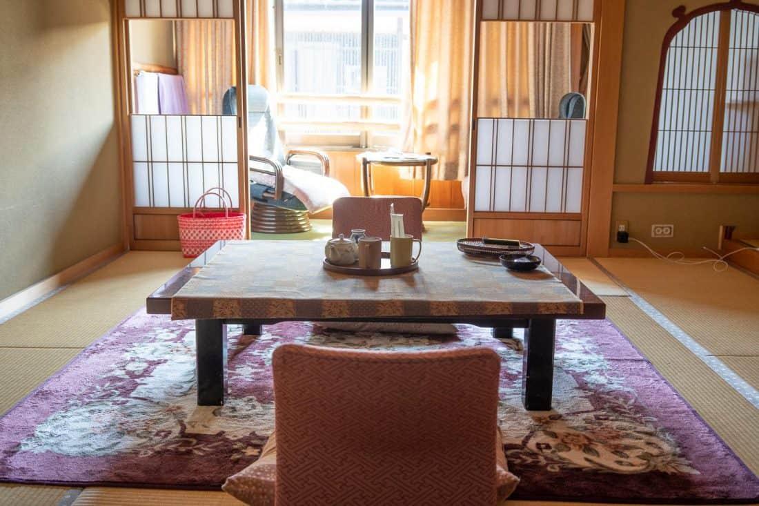 Our tatami room at Morizuya Ryokan in Kinosaki Onsen, Japan
