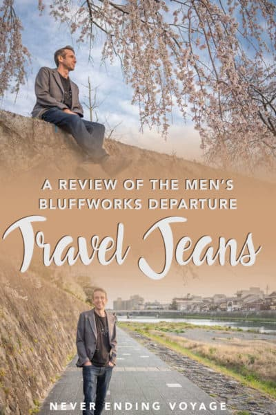 Here's all you need to know about the Bluffworks departure travel jeans for men! #travel #menstravel #menspacking #packingtips