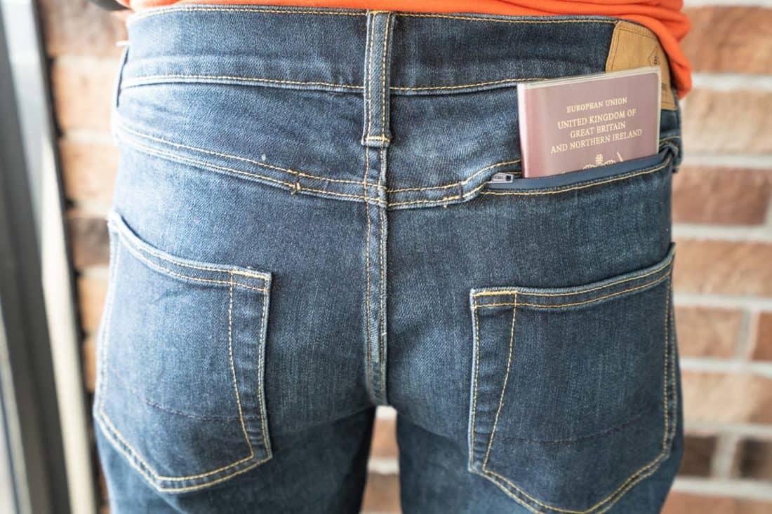 Passport in the hidden pocket of the Bluffworks Departure jeans