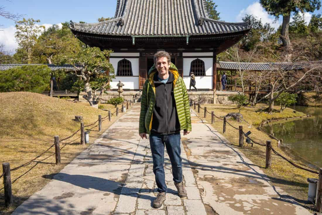 Simon wearing Bluffworks jeans at a Japanese temple