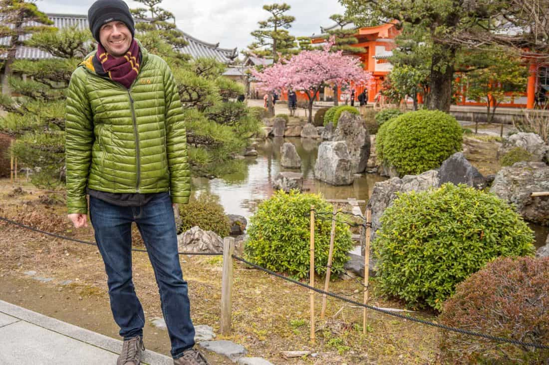 Simon wearing Departure travel jeans in a Kyoto temple