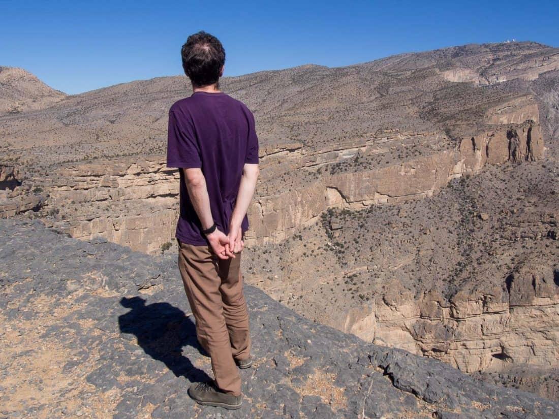 Simon in Bluffworks pants while hiking in Oman