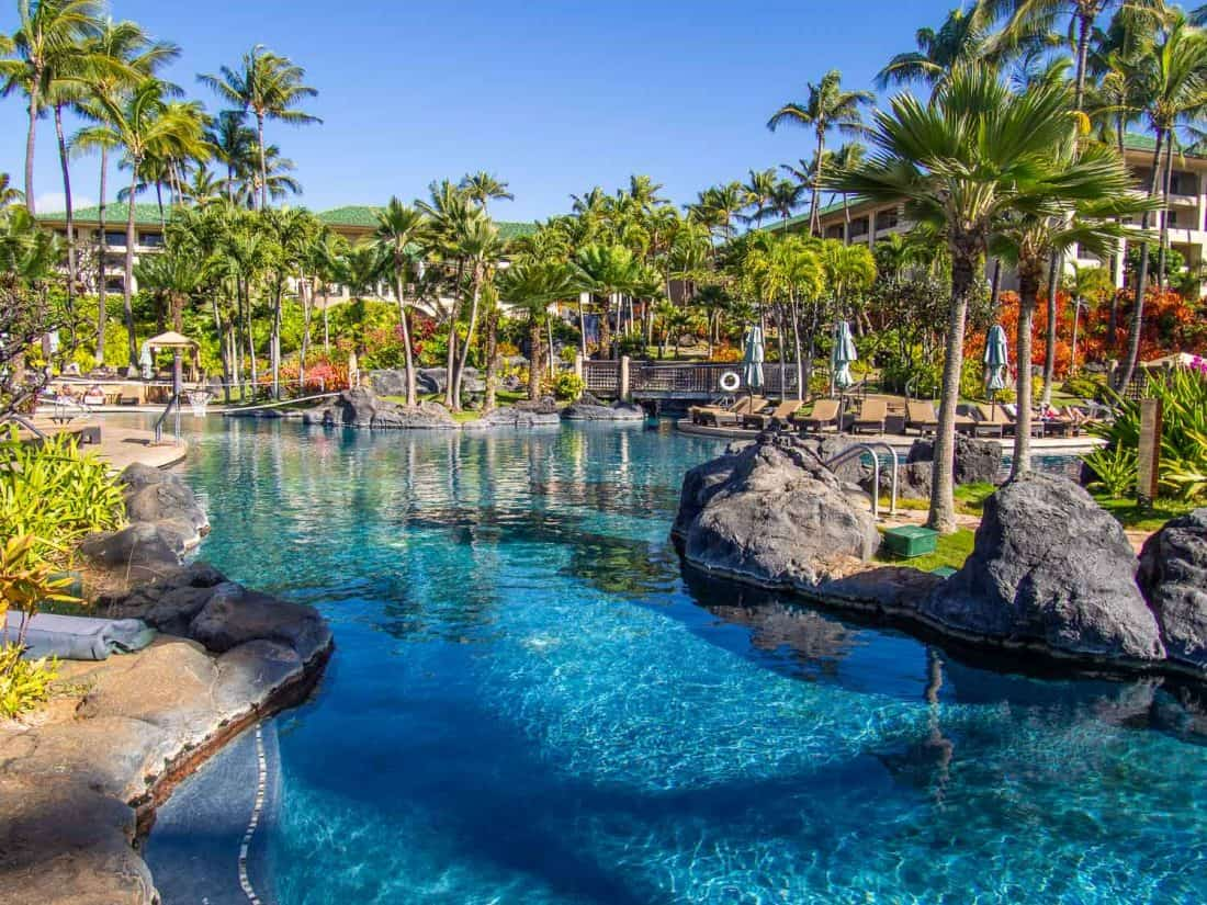 Where to stay in Kauai: the Grand Hyatt Resort is one of the best resorts on Kauai with extensive pools