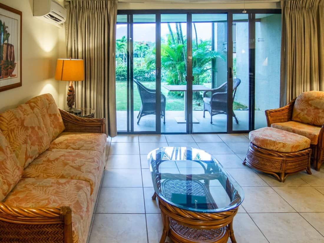 Living area of our condo at Hanalei Bay Resort, Kauai