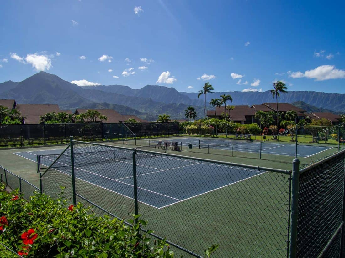 Some of the tennis courts at Hanalei Bay Resort