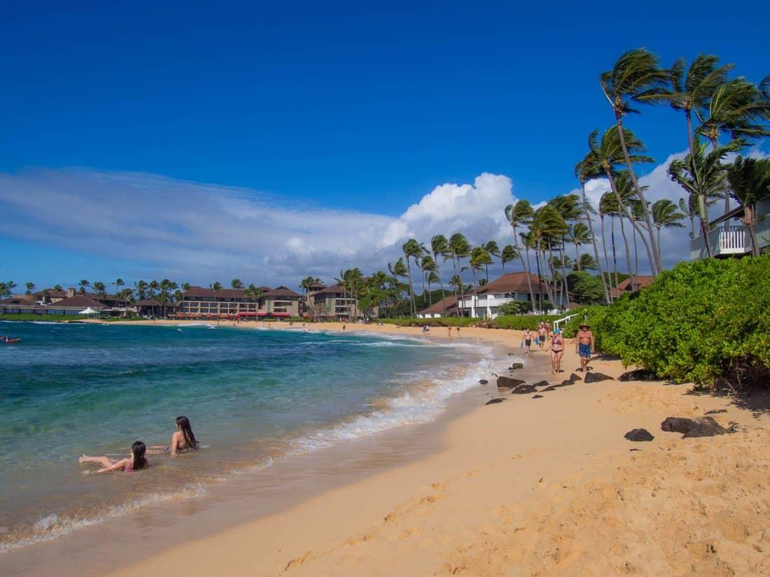 Kiahuna Beach in Poipu in front of the Kiahuna Plantation resort, Kauai
