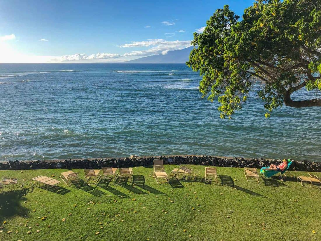 Ocean view from our lanai at Kahana Reef condos in west Maui