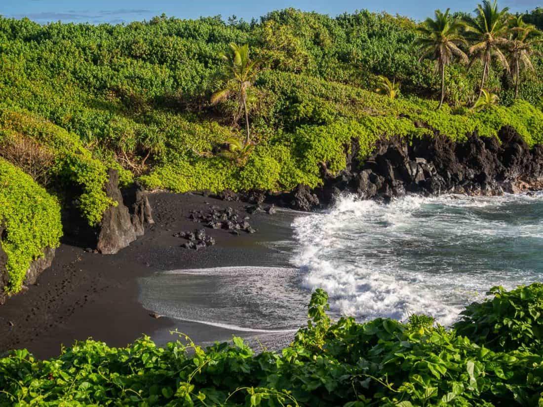 Black sand beach at Wai'anapanapa State Park in Hana, Maui