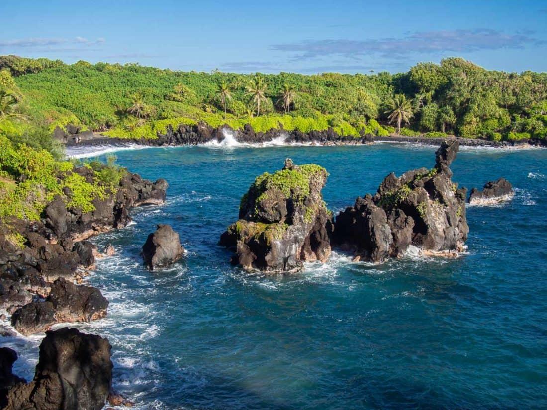 Sea stacks at Wai'anapanapa State Park near Hana in Maui