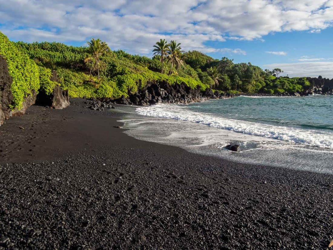 The black sand beach at Wai'anapanapa State Park near Hana, Maui