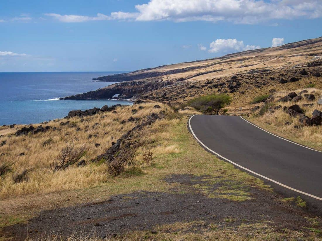 Ocean views and dry landscapes of the Back Road to Hana