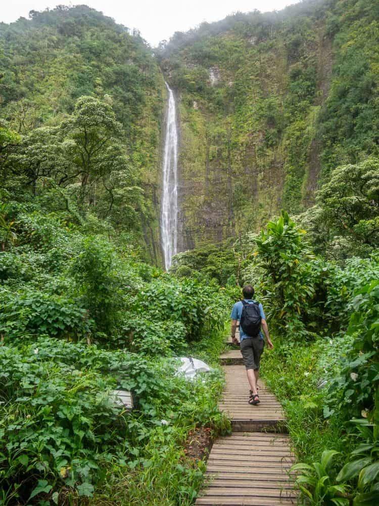 Waimoku Falls on the Pipiwai Trail near Hana, Maui