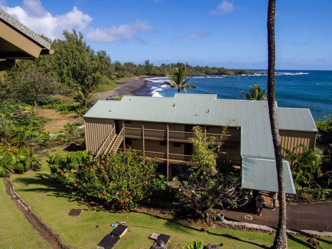 The view from our condo balcony at Hana Kai in Hana, Maui