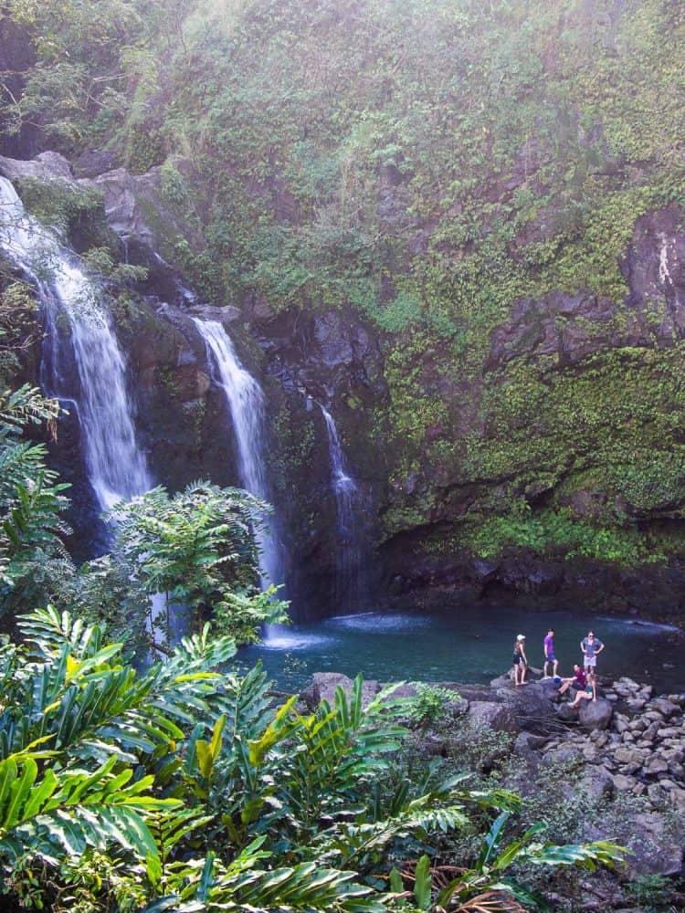 Upper Waikani Falls (also called Three Bears Falls) on the Hana Highway in Maui