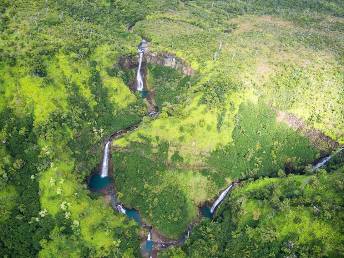 Waterfalls in Kauai from a helicopter