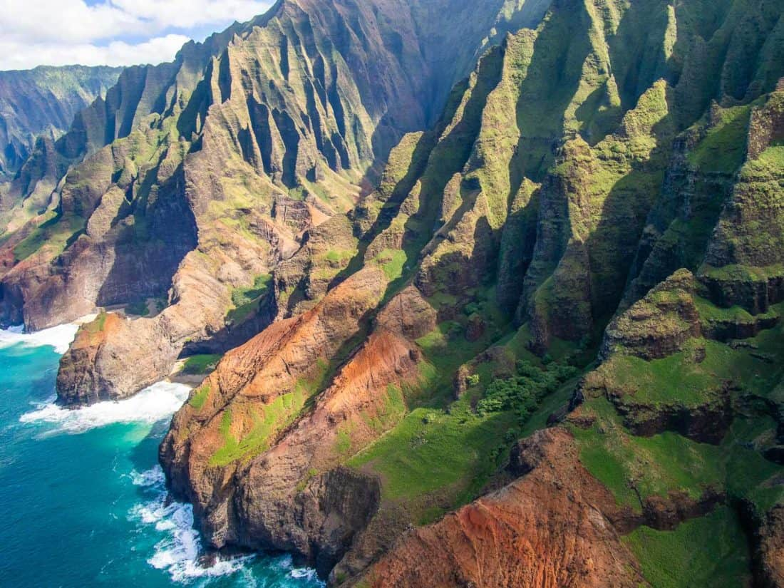 Kauai's Napali Coast from a helicopter