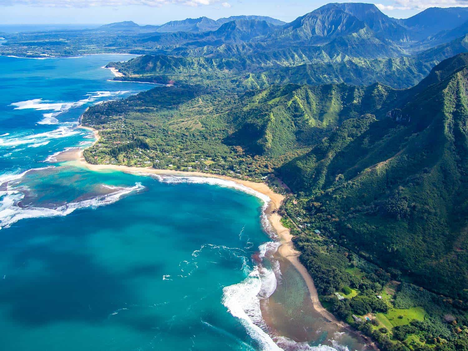 Kauai's North Shore viewed from a helicopter