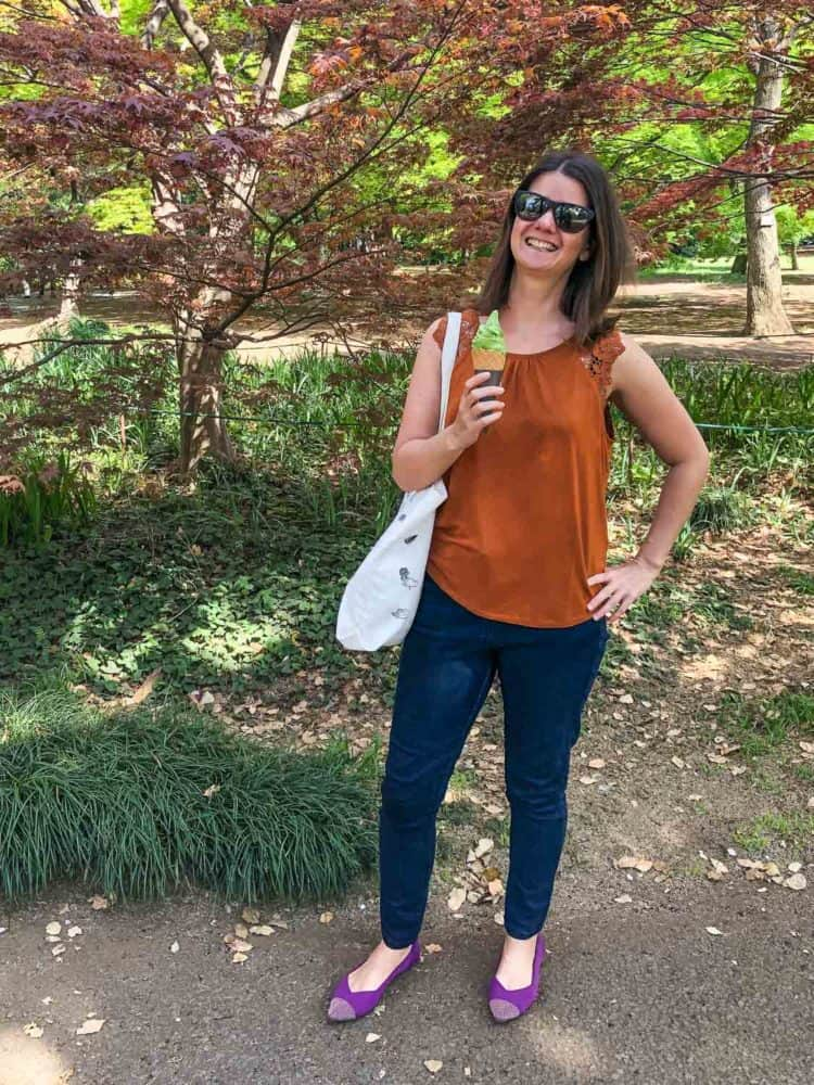 Wearing my Rothy's for a stroll in a park in Tokyo