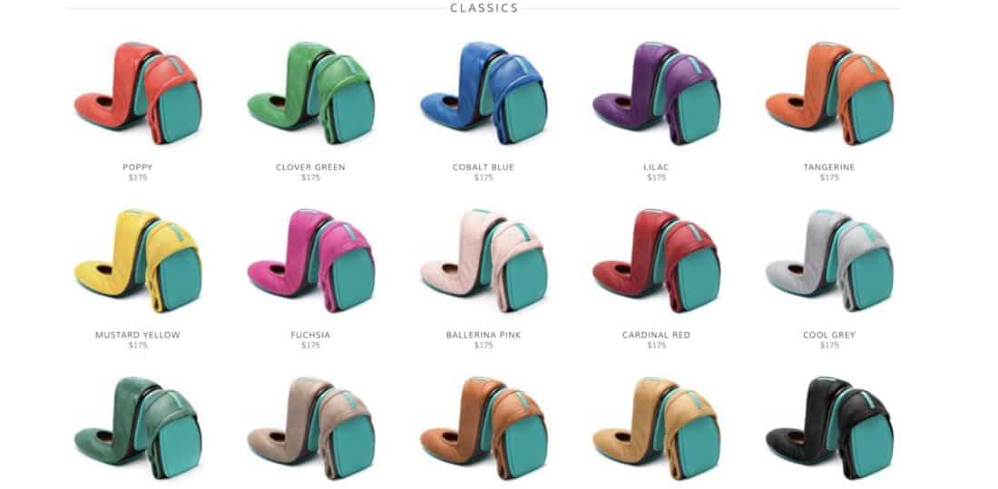 Tieks classic leather flats come in many vibrant colours