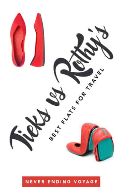 Wondering which flats are the best for travel? Here's a review of the two post popular -- Tieks vs Rothy's! #packlight #packingtips #femalepackingtips