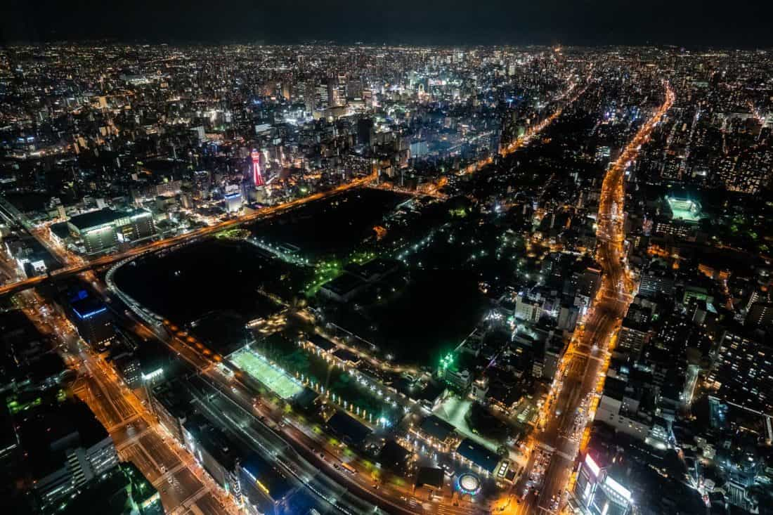City view from Harukas 300 in Osaka at night