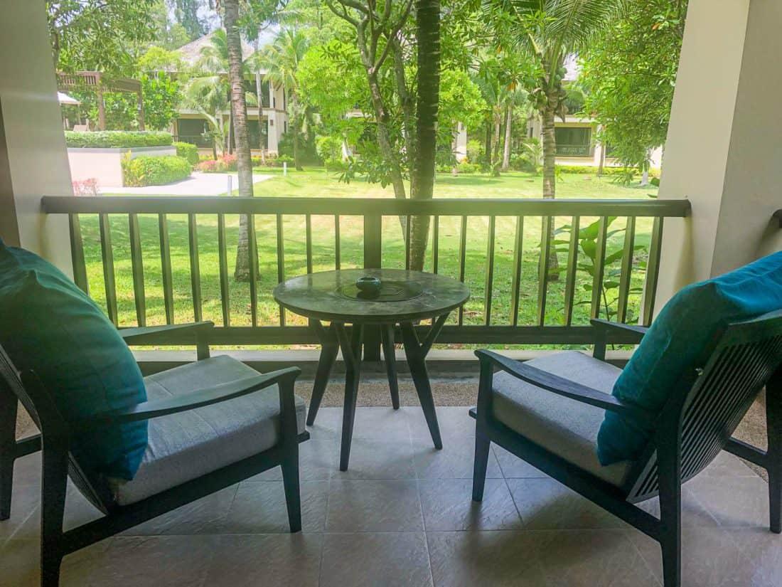 The balcony of our standard Garden Pavilion room on Koh Lanta, Thailand