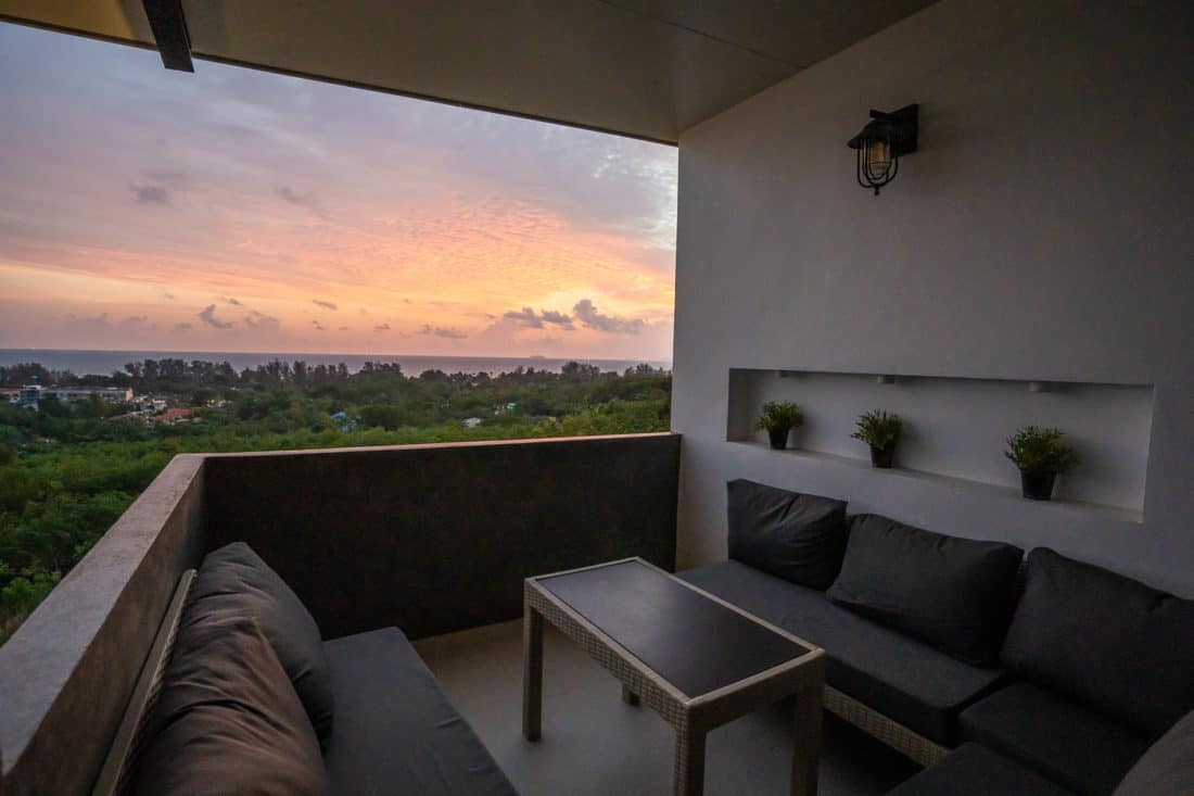 Sunset on the terrace at D4 Chill House at Malee Highlands, Koh Lanta