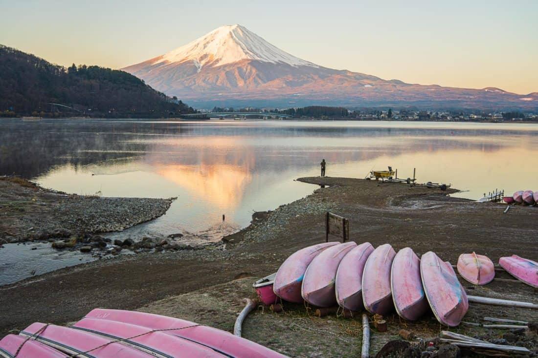 Mount Fuji just after sunrise at Lake Kawaguchi, Japan